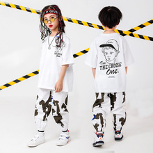 Детская одежда в стиле хип-хоп Футболка большого размера топы для бега, повседневные штаны для девочек и мальчиков, костюм для джазовых танцев, одежда для бальных танцев