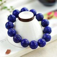 14mm 100% Natural Lapis Bracelet Lazuli Royal Blue Gemstone Bracelets Crystal Stretch Craved Round Beads AAAAA Drop Shipping