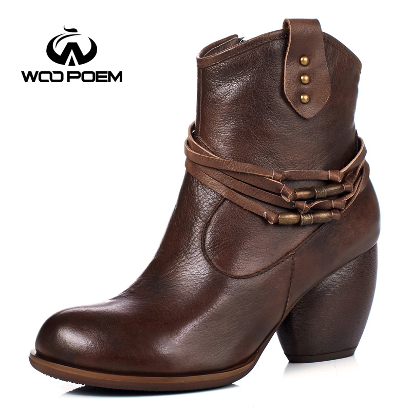 WooPoem Winter Shoes Woman Genuine Leather Boots High Heel Ankle Boots Chain Classic Zip Retro Women Boots Winter Boots 1087-15 woopoem brand winter shoes woman genuine leather boots low flat heel ankle boots rivet motorcycle boots retro women boots 510 l1