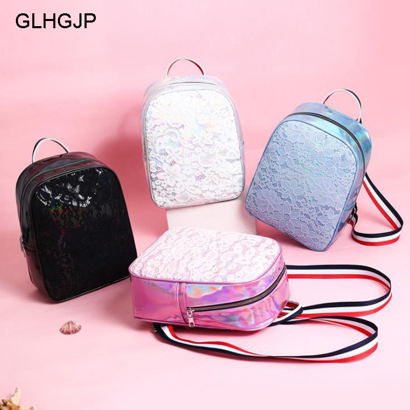 Women's Bags Hard-Working Glhgjp Fashion Laser Backpack Pretty Style Lace Women Bagpack Harajuku Pu Leather School Bag For Student Girl Mochila Feminina