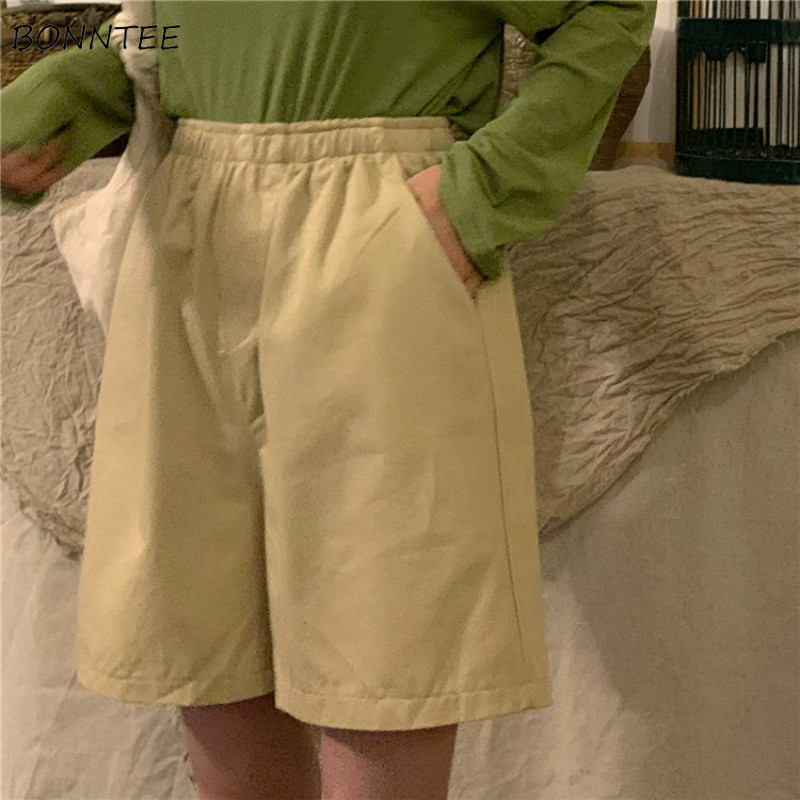 Shorts Women Leisure Solid High Quality Elastic Waist Korean Style Womens Pockets Summer Harajuku Korean Style Ladies Lovely New