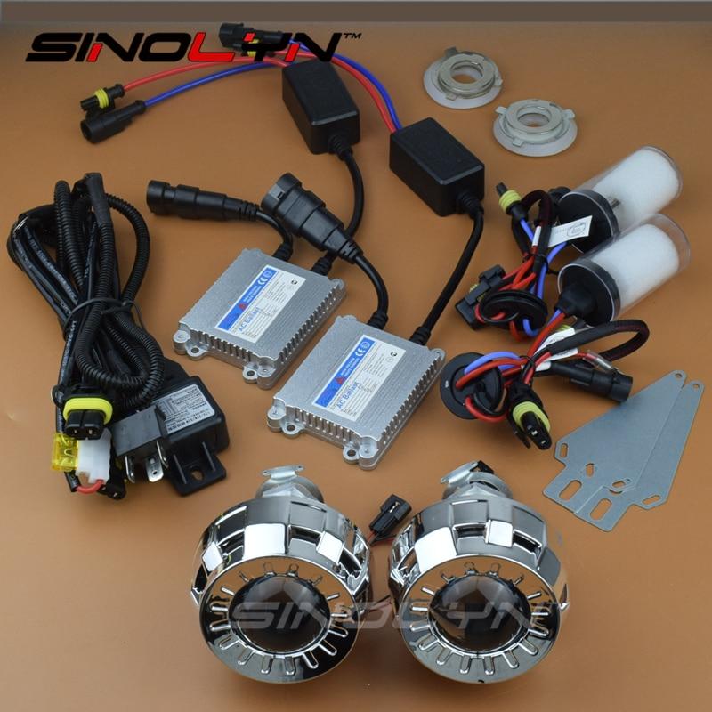 Bi xenon HID Projector Full Headlight Lenses 2 0 Micro Lens H1 4300K 6000K 8000K Xenon