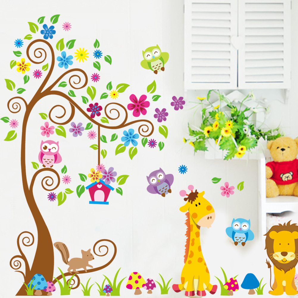 Dessin animé Animal arbre papier peint pour enfants chambres adesivo de parede vintage enfant vinyle mur autocollant décoration de la maison