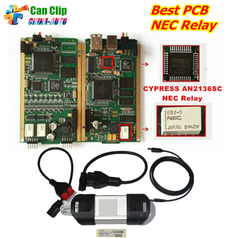 2018 Newest V178 For Renault Can Clip Full Chip Gold CYPRESS AN2135SC/2136SC Chip + NEC Relay OBD2 Interface Diagnostic Scanner