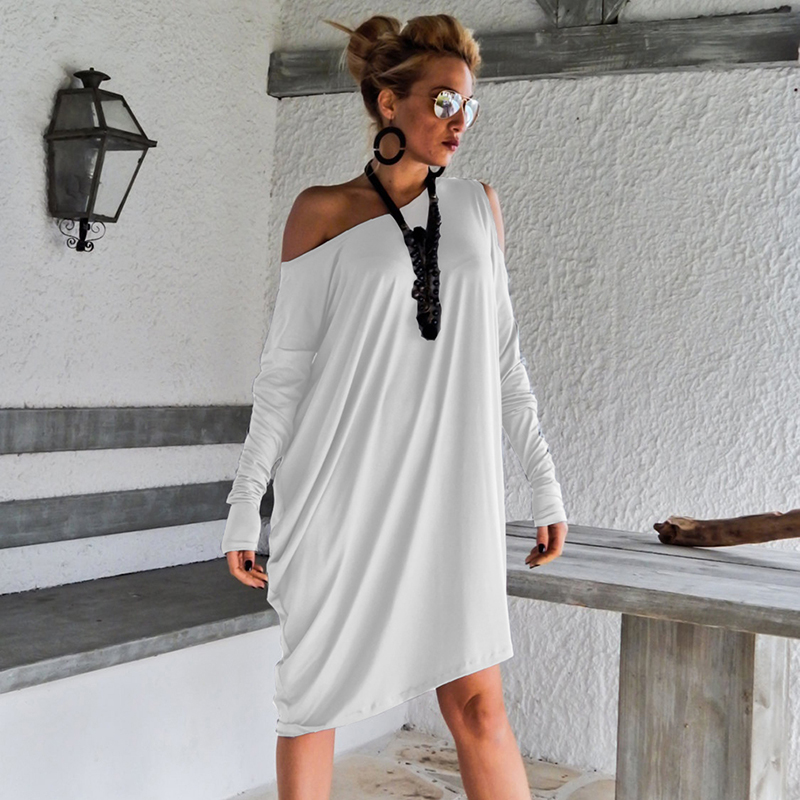 HEGNSONG  Women Autumn Spring Fashion Irregular Slash Neck Dress Long Sleeve Dress Casual Elegant Plus Size Dress For Female