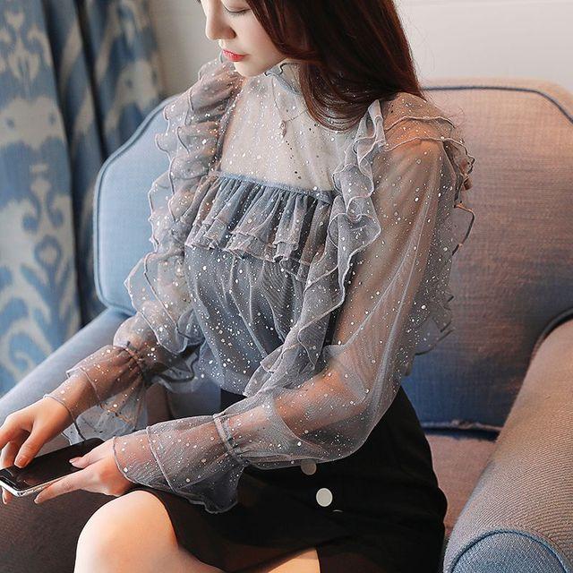 2018 nueva camisa de otoño para mujer volantes manga completa de encaje gasa brillante seda estrellas blusa gris negro 215
