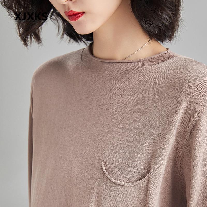 Xjxks 여성 2 피스 패션 3 분기 슬리브 탑 + 탄성 허리 9 바지 2019 봄 여름 새로운 편안한 여성 세트-에서여성 세트부터 여성 의류 의  그룹 3