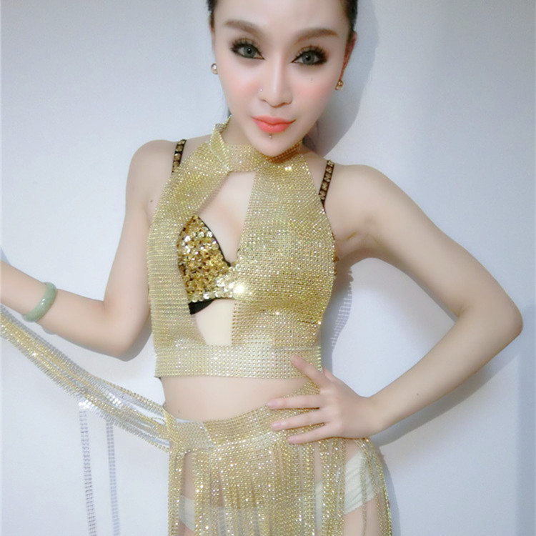 Sexy Stage Costume Women Sexy Jazz Flash Drill Tassel Top Skirt Celebrity Dresses Singer Clothes Rave Outfit Stage Wear Dn2556 Novelty & Special Use