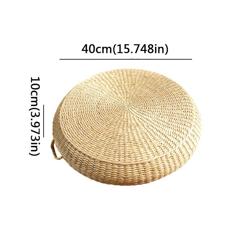 HOT SALE Tatami Cushion Round Straw Weave Handmade Pillow Floor Japanese Style Yoga Chair Sofa Adult Child Home Seat Mat 40/45cm - Цвет: 40X10primary color