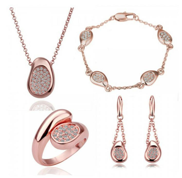 OMH wholesale fashion 18 KT gold white Crystal peas Women girls gift Necklace+Earrings+ring+Hand catenary Jewelry sets TZ122