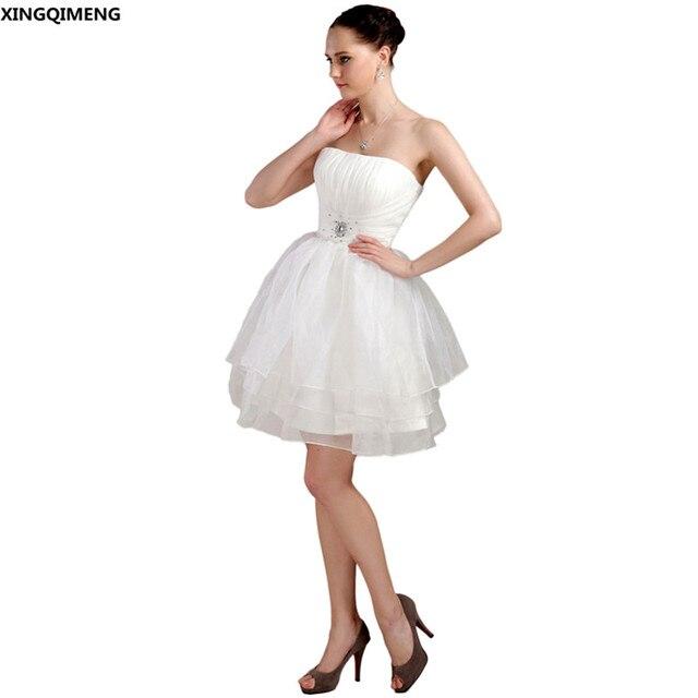 Sexy Mini Trägerlosen Cocktailkleider Elegante Elfenbein Chiffon ...