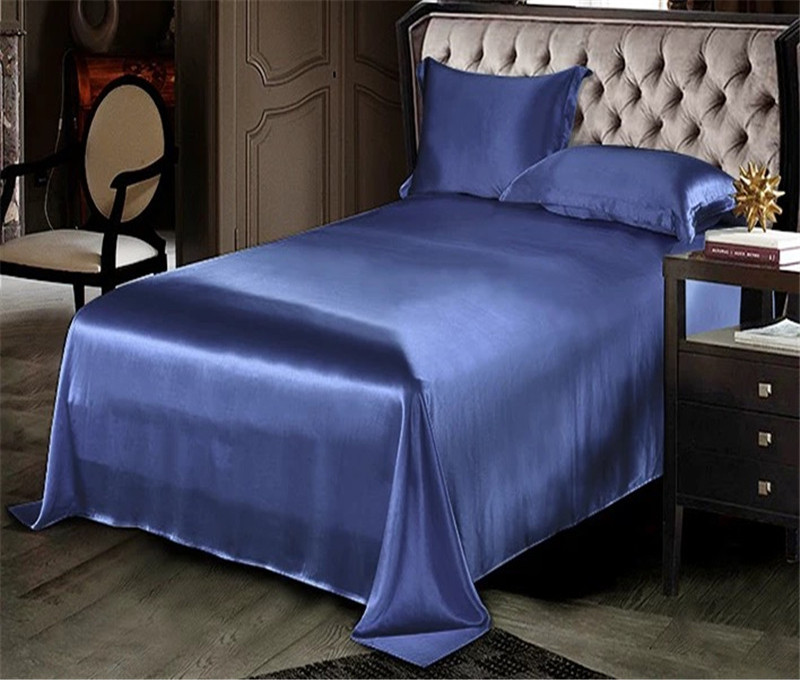 100% Mulberry Silk 22 mm Seamless Silvery Dark Blue Purple Colors King Queen Size Flat Sheet 1 Piece Customize MS03