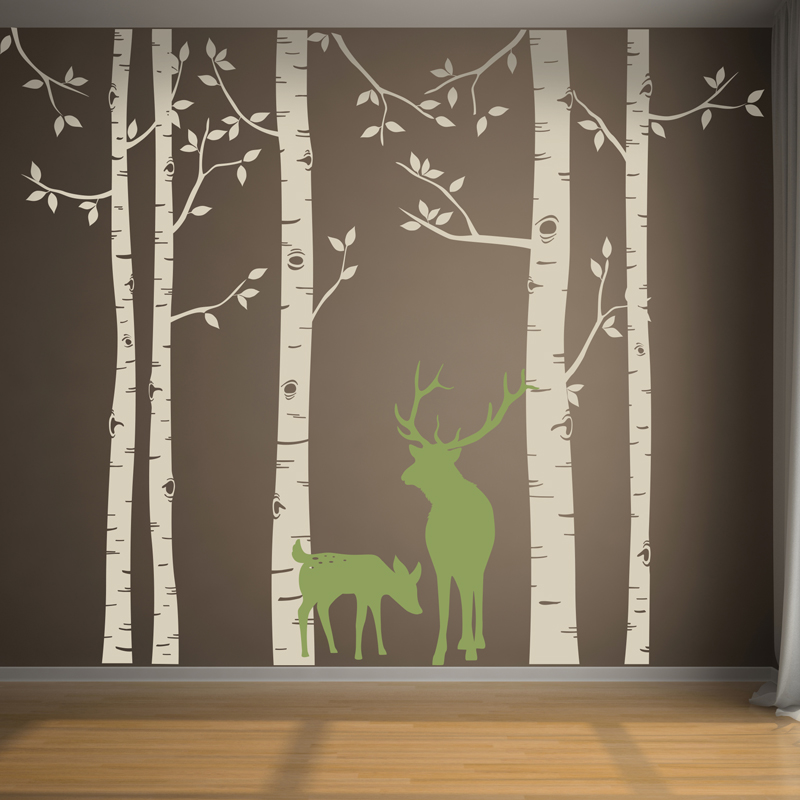 Birch Tree Wall Decal with Deer Removable Huge White Tree Wall Stickers For Baby Nursery Room Tree Wall Decor Living Room ZA318 - 2