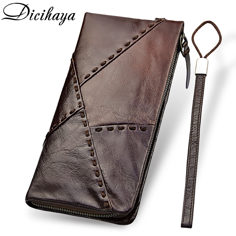 DICIHAYA 100% Genuine Leather Wallet Men Long Vintage Cow Leather Casual Purse Brand Design High Quality Cutch Wallet Phone Bag brand design men luxury individuality vintage long wallet skull style genuine cow leather purse men s clutch handy phone bags