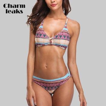 Charmleaks Women Bikini Set Vintage Floral Print Back Cross Swimwear Bandaged Sexy Bikini Swimsuit Padded Beachwear braided strap detail floral bikini set