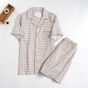 Image 4 - Mens Short sleeved Summer Cotton Yarn Nightwear Plaid Turn down Collar Men Pajama Sets Plus Size Pijama Pajamas Sleeping Suits