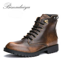 BIMUDUIYU Metallic Color Single/Winter Plush Rivet Leather Men Snow Boots  Vintage Casual Motorcycle Martin Boots Large Size