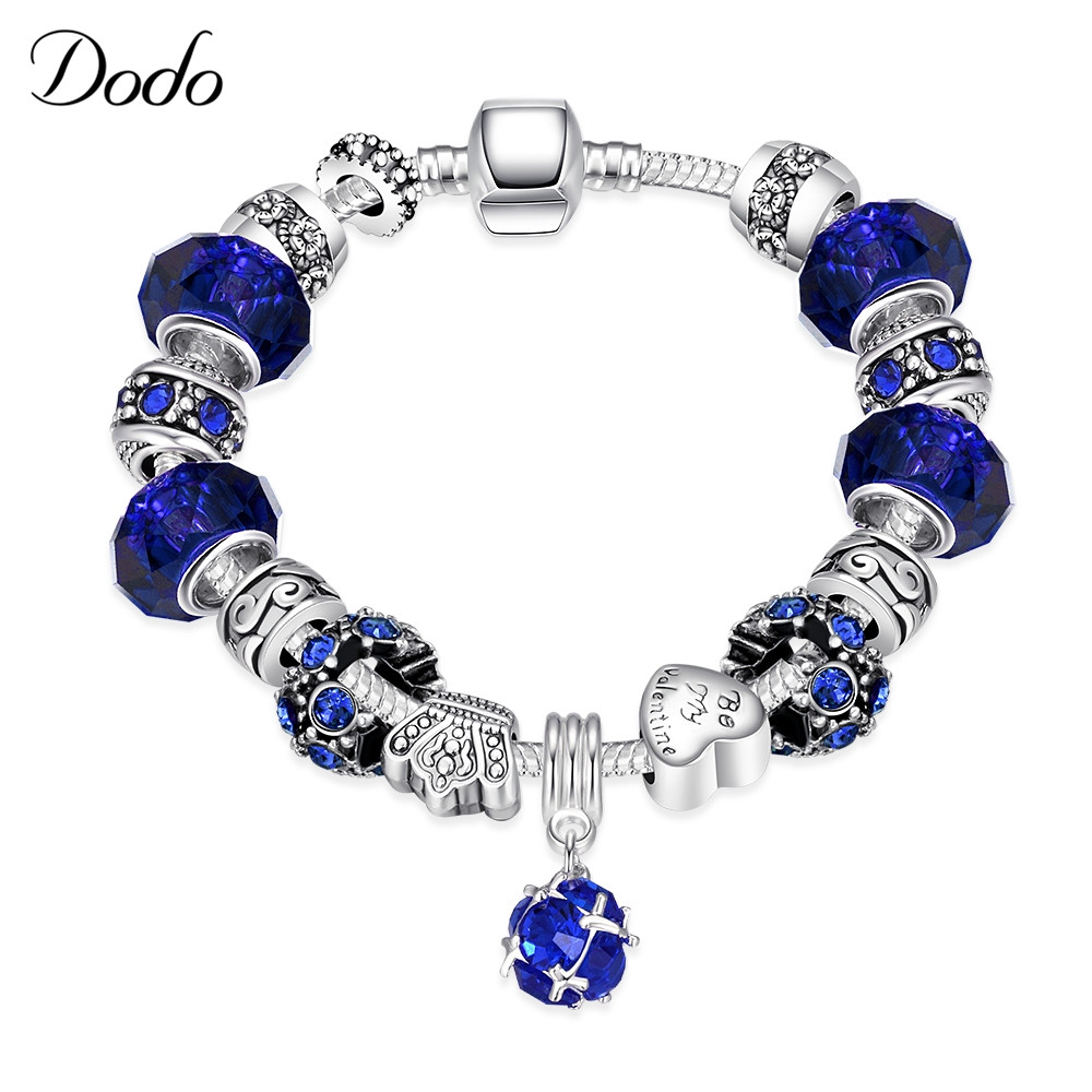Aliexpress Hot Sell Silver Plated Charm Bracelets Bangle for Women with Murano Beads Vintage Colorful Stone Love DIY Jewelry P6