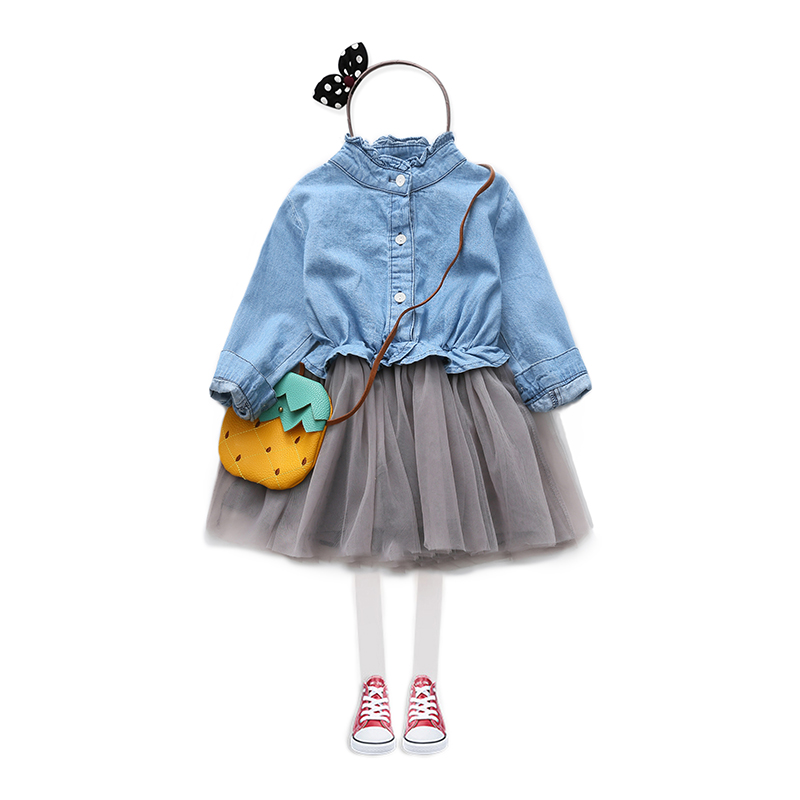 2018 Spring Autumn 2-11 12 Years Teenage American Style Crew Neck Long Sleeve Baby Kids Princess Girl Denim Lace Patchwork Dress green crew neck roll half sleeves mini dress