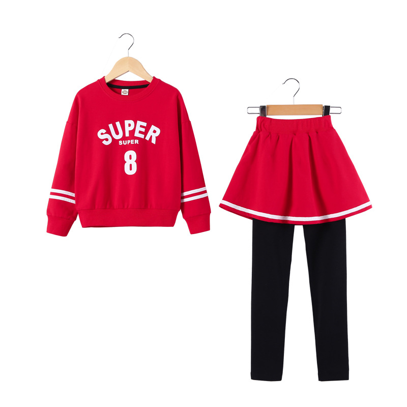 3-13Yrs Autumn Children Clothing Sets Boys Girls Long Sleeve Red Sweaters+skirt Pants Kids Clothes Sports Suit for Girls CC940 baby boy clothes set autumn children clothing sets kids girls long sleeve elephant cotton pants boys clothes sports suit