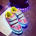 2017 New 2.2 Styles Kids USB Charging LED Light Shoe Soft Net Breather Casual Boy Girl Luminous Antiskid Bottom Children Shoes