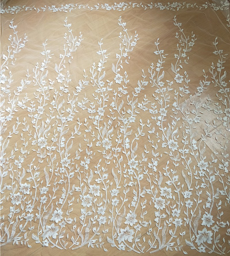 1 Yard Clear Sequin Mesh Leaf Embroidery Lace Fabric Wedding Dress DIY Gown Prom Dress Lace Accessories 135cm Wide