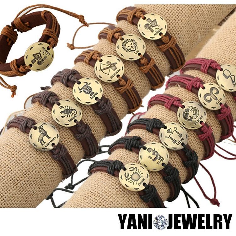 12pcs/lot Newest 12 Zodiac Signs Leather Bracelet Constellations Charm Bracelets Adjustable Bracelet Bangle Cuff Jewelry