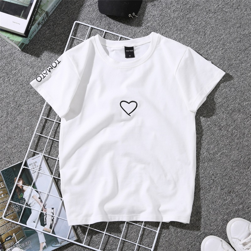 HTB1dsHhXizxK1RjSspjq6AS.pXaO - Summer Couples Lovers T-Shirt For Women Casual White Tops Tshirt Women T Shirt Love Heart Embroidery Print T-Shirt Female
