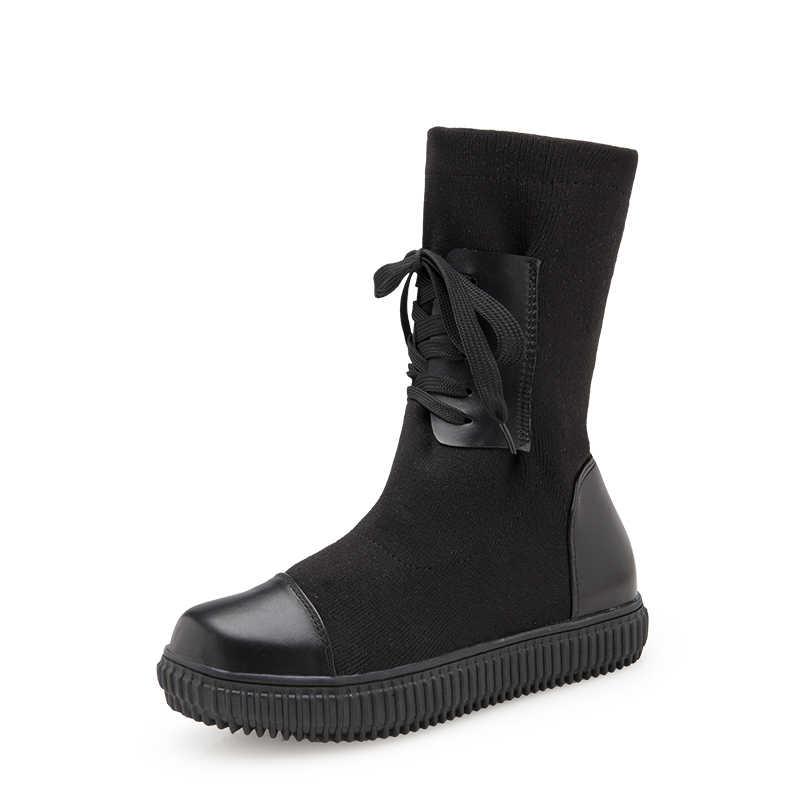 TOPUK BÜYÜK Örgü Platformu Kadın yarım çizmeler Lace up Kış Bayanlar moda ayakkabılar Kadın Düz Yuvarlak ayak Ayakkabı Kadın XWX6816