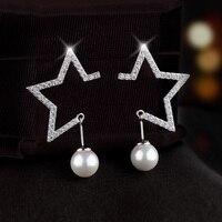 Fashionable S925 Silver Needle Ear women Earrings Ear Drops Jewelry Shell Pearl stud earrings hy801