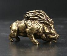 54MM/2.1 Collect Curio Rare Chinese Fengshui Small Bronze Exquisite Boar Wild Sus Scrofa Statue Statuette 123g