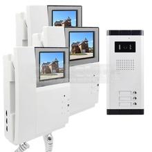 """DIYSECUR 4.3 """"HD Apartamento Video de La Puerta Sistema de Teléfono Video Del Timbre Del Intercomunicador 700 Tecla Táctil de la Cámara del IR para 3 Familias"""