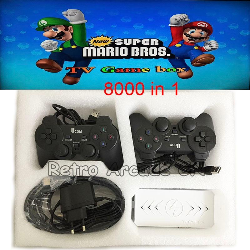 Jeu d'arcade/Super Mario/jeu garçon/MSX/NEO GEO/Super Mintendo Super 8000 en 1 TV boîte de jeu avec deux USB joypad sortie HDMI à la télévision