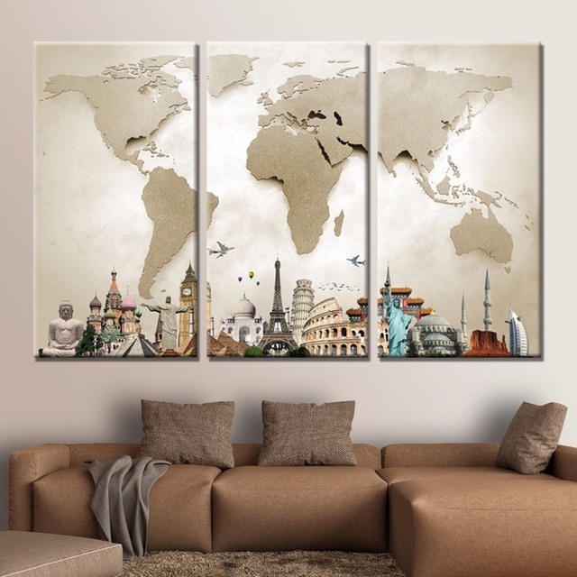 3 panel canvas painting world map monuments canvas print home decor 3 panel canvas painting world map monuments canvas print home decor paintings modern wall pictures 3 gumiabroncs Image collections