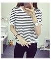 Blusa de renda limitada unicórnio tumblr the new verão 2016 pétalas camisa listrada com mangas feminino tornar sem forro vestuário superior e61