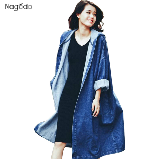2017 New Denim Trench Coat Retro Loose Overcoat Autumn Long Trench Coat For Women Windbreaker Hooded Overcoat 2 Colors NG1701