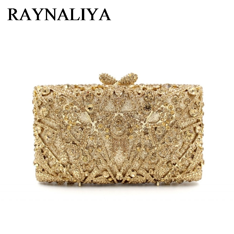 Hollow Out Floral Rhinestones Evening Party Small Clutch Bridal Purse Wedding Gold Crystal Women Clutches Handbags ZH-A0046