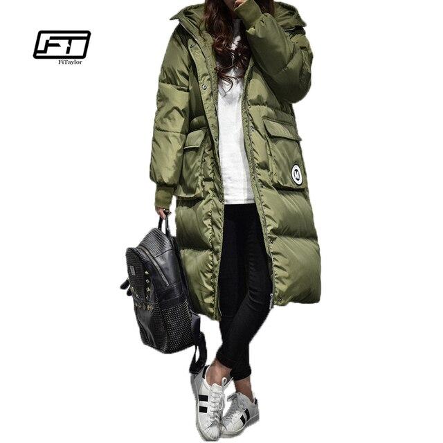 Fitaylor зимние парки с гусиным пухом Для женщин свободный крой с капюшоном пальто Вышивка теплые Военная Униформа пальто Подпушка куртка Для женщин