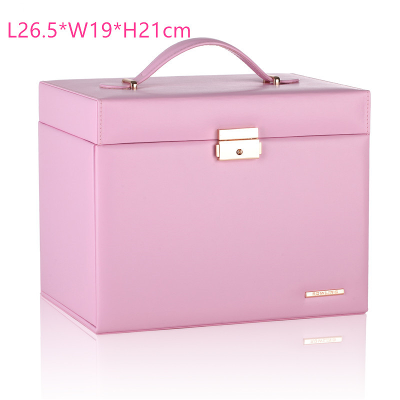 Pink Extra Large Jewellery Box Girls Gift Necklace Rings Earrings Container Fashion Storage Case Mirror Leather Organizer Lock