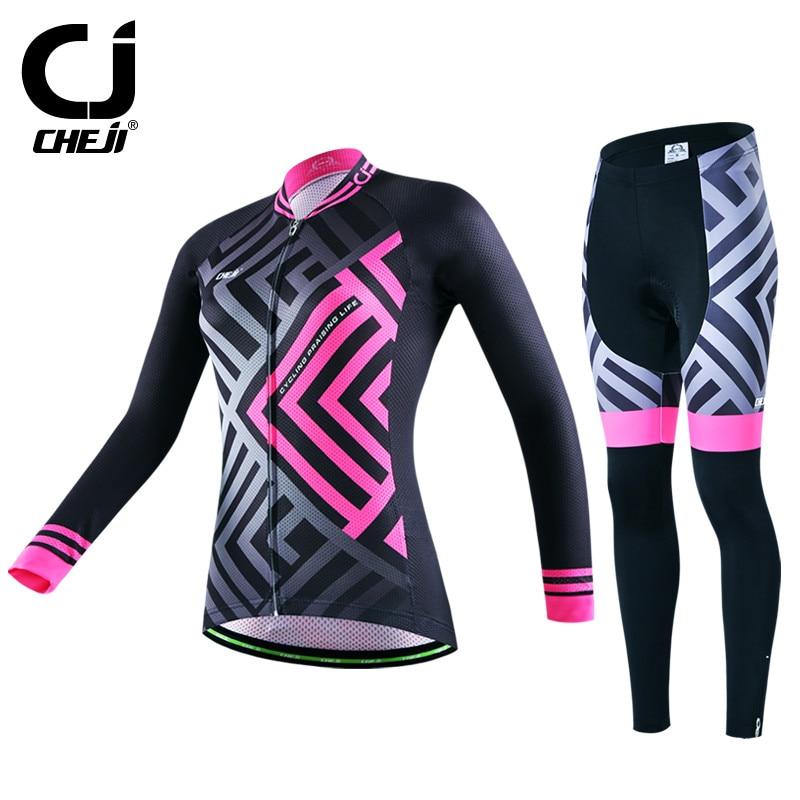 Prix pour Cheji Femmes de Long Cyclisme Manches Jersey Chaud vtt Vélo Jersey Définit Hiver Route Vélo Cyclisme Vêtements Ropa Invierno Ciclismo