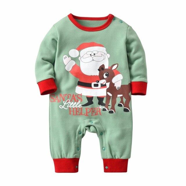 Christmas Santa Claus Girls Costume Jumpsuit Autumn Winter Kids Climbing Romper thickening Jumpsuit hat baby Boy onesies pajamas