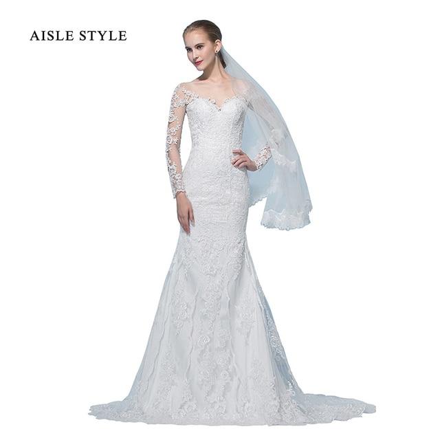 bf88d2d53ff7 Vintage Lace Wedding Dresses 2017 Modest Bride Long Sleeves Mermaid Wedding  Dress Illusion Off Shoulder Wedding
