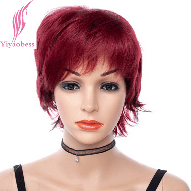 Yiyaobess 8inch Black Highlights Hair Short Red Wig Synthetic Puffy African American Wigs For Women High Temperature Fiber In Synthetic None Lace Wigs