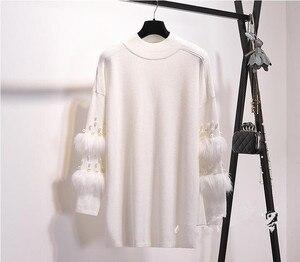 Image 5 - חדש פו פרווה קשט שרוול סוודר ארוך שרוול מגשרי עם פניני גולף למשוך מקרית סוודרי ג רזי Mujer Invierno