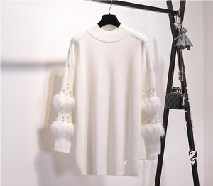 Image 5 - New Faux Fur Embellished Sleeve Sweater Long sleeve Jumpers with pearls Turtleneck Pull Casual Pullovers Jersey Mujer Invierno