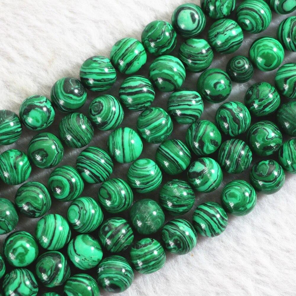 Syntetische malaquita perlas alrededor de bala multicolor 8 mm Strang 36 cm Edelstein