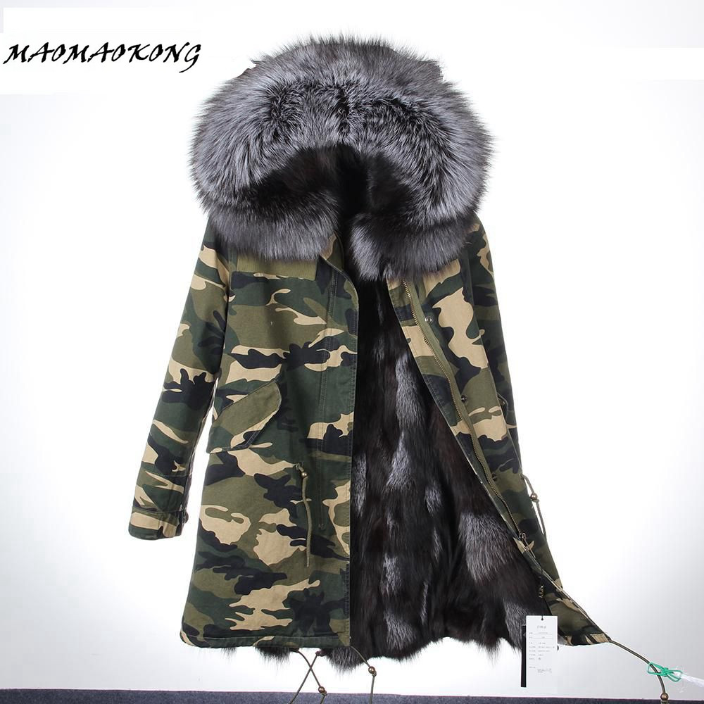 MAOMAOKONG women winter long parka military camouflage large raccoon fur collar hooded coat outwear real fox fur lining  jack women large collar army camouflage fox fur liner hooded coat outwear real fox fur lining jacket woman brand dhl free shipping