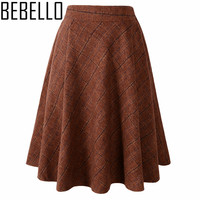 2017 Woolen England Style Gilrs School Plaid Pattern Knee Length Pleatead Women Skirts Wool High Waist