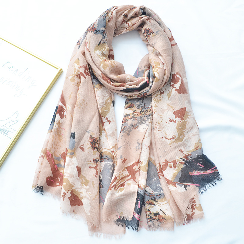 Scarf Summer Wrap Bold Line Flower Print Soft Viscose Cotton Scarves for women