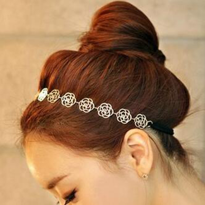 Lovely Metallic Women  Hollow Rose Flower Elastic Hair Head Band Headband Headwear Accessories массажер medisana nm 860 для шеи